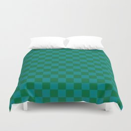 Teal Green and Cadmium Green Checkerboard Duvet Cover