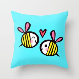 Kawaii Bees in Love Throw Pillow