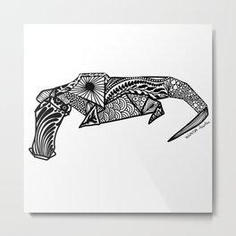 Crocodile Origami Doodle Metal Print