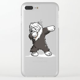 Funny Dabbing Old English Sheepdog Dog Dab Dance Clear iPhone Case