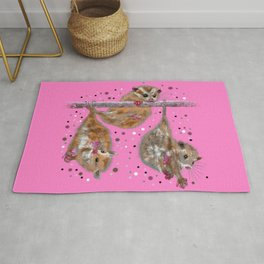 Possum trio on a branch - Pink Rug