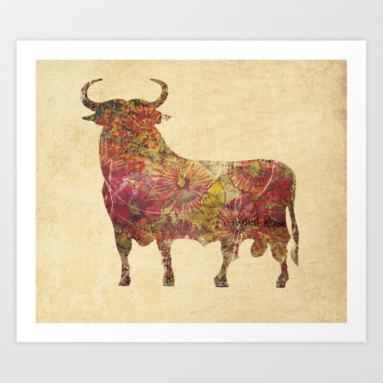The vintage bull Art Print