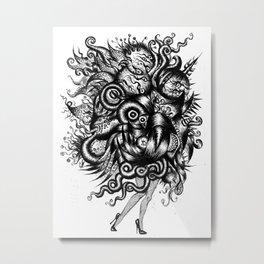 Spaceship Girl_Black Metal Print
