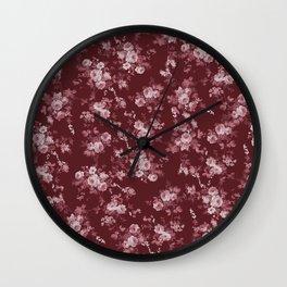 Pastel pink marsala red modern elegant roses floral Wall Clock