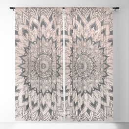 Boho black watercolor floral mandala rose gold glitter ombre pastel blush pink Sheer Curtain