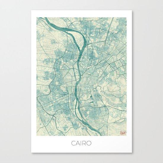 Cairo Map Blue Vintage Canvas Print