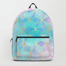 Iridescent Glass Geometric Pattern Backpack
