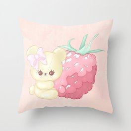 Raspberry Cutie Bear Throw Pillow