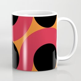 Black Balls on red Elastic Worms in an Orange Background Coffee Mug