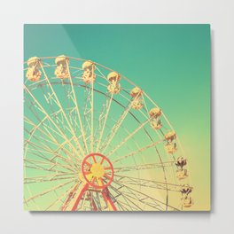 All the happy days - Carnival, ferris wheel , turquoise green, vintage retro, fall autumn, blue sky Metal Print