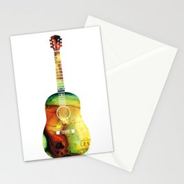 Acoustic Guitar - Colorful Abstract Musical Instrument Stationery Cards