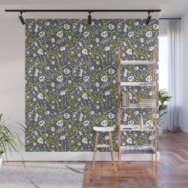 Skeletons in Spring - abbey grey - white  Wall Mural