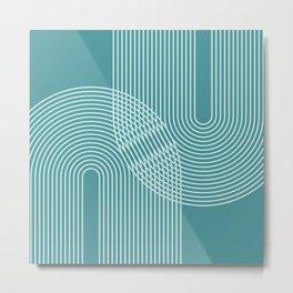 Geometric Lines in Teal Green Metal Print