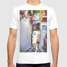Tiffany Glass Style Greece Street White MEDIUM Mens Fitted Tee
