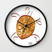 sea turtle Wall Clocks featuring turtle by 1 monde à part