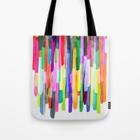 stripes Tote Bags featuring Colorful Stripes 4 by Mareike Böhmer