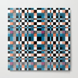 Blue white orange geometric pattern . In the cage Metal Print