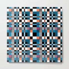 Blue white orange geometric pattern . In the cage Metal Print