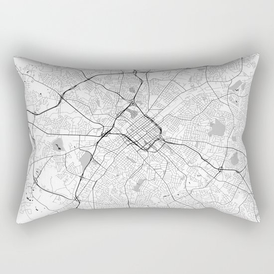 Charlotte Map Gray Rectangular Pillow