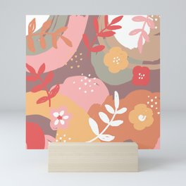 Flowers and leaves. Abstraction. Chocolate background. Mini Art Print