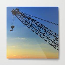 Sunset Construction Crane Metal Print