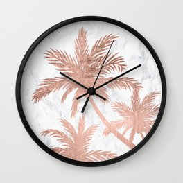 Tropical simple rose gold palm trees white marble Wall Clock