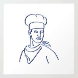 Chef Looking to Side Neon Sign Art Print