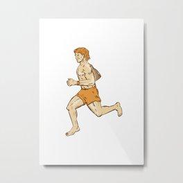 Barefoot Runner Running Side Etching Metal Print