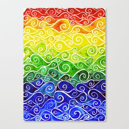Rainbow Water Waves Canvas Print