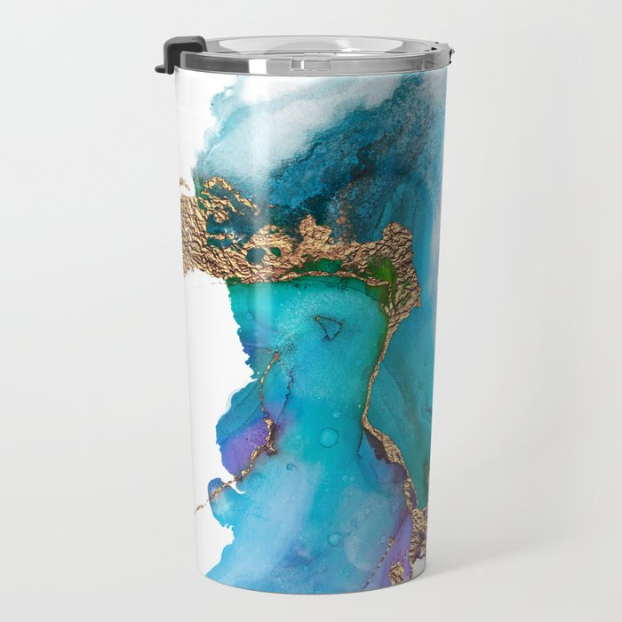 Abstract Marble Mermaid Gemstone With Gold Glitter Travel Mug