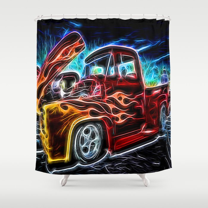 Neon Ford F 100 Pick Up Truck Shower Curtain