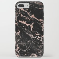 Modern girly faux rose gold foil black marble iPhone 7 Plus Tough Case