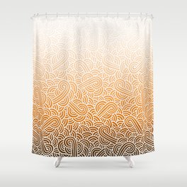 Ombre orange and white swirls doodles Shower Curtain