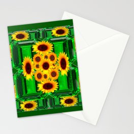 SPRING GREEN YELLOW FLOWERS  ART DECORATIVE  DESIGN Stationery Cards