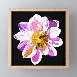 bees on flower vector art Framed Mini Art Print
