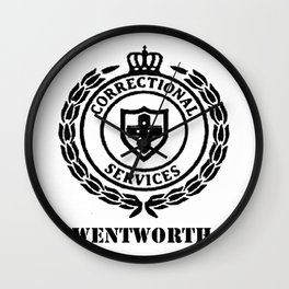Wentworth Logo Black on White Wall Clock
