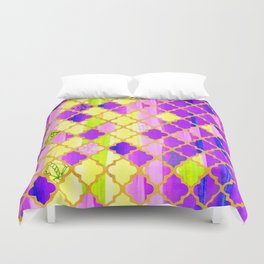 Moroccan Tile Pattern In Purple And Yellow Duvet Cover