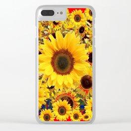 DECORATIVE SUMMER SUNFLOWER FIELDS RED ART Clear iPhone Case