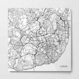 Lisbon Map, Portugal - Black and White Metal Print
