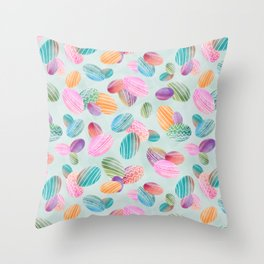Easter eggs //Watercolor eggs on green wash background Throw Pillow