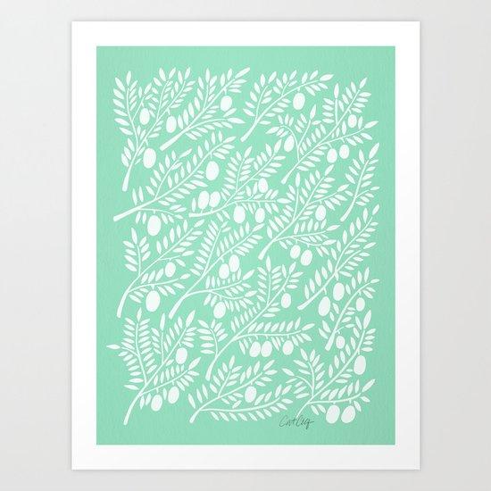 Mint Olive Branches Art Print