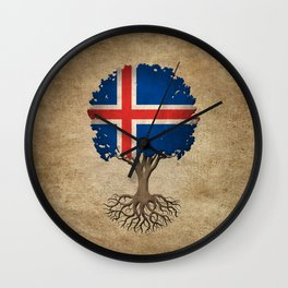 Vintage Tree of Life with Flag of Iceland Wall Clock