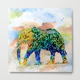 Design 37 Mosaic Elephant Metal Print