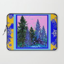 YELLOW-BLUE WINTER SNOWFLAKES  FOREST TREE  ART Laptop Sleeve
