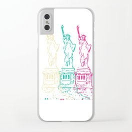 Triple Statue of Liberty Clear iPhone Case