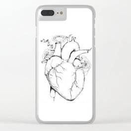 Black and White Anatomical Heart Clear iPhone Case