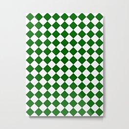 Diamonds - White and Dark Green Metal Print