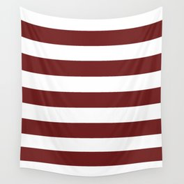 Prune - solid color - white stripes pattern Wall Tapestry