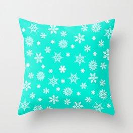 Snow Flurries-Frosty Blue Throw Pillow