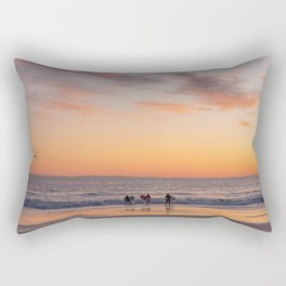 Surfers at Sunset in California Rectangular Pillow